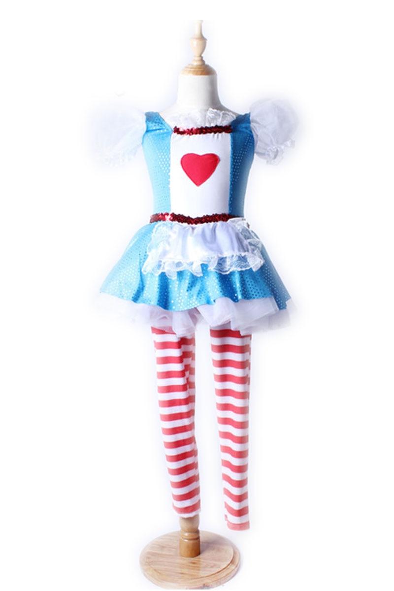 خريف / شتاء الأطفال الإناث شخصية جديدة مهرج الرقص الحديث اللباس ممارسة ارتداء وهمية قطعتين