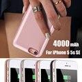 4000 мАч Зарядное Устройство Случаях для iPhone 5 5s SE Внешний батарея Резервного Копирования Зарядное Крышки Случая Банк Питания с USB Порт Вывода
