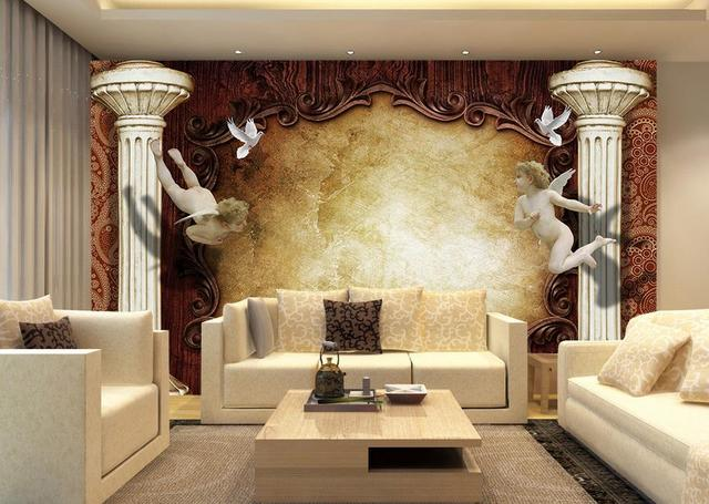 Custom 3d wallpaper mural living room hd continental angel for Wallpaper hd for living room