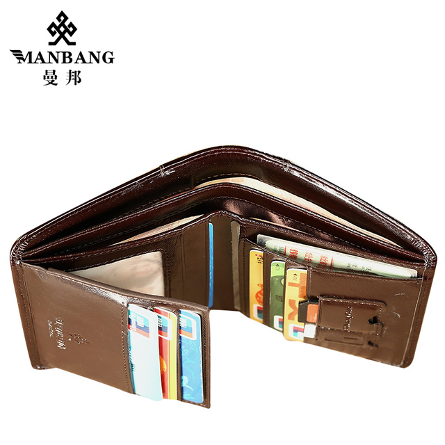 ManBang Classic Style Wallet Genuine Leather Men Wallets Short Male Purse Card Holder Wallet Men Fashion High Quality 8