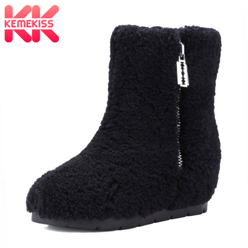 KemeKiss Winter Genuine Leather Women Ankle Boots Warm Thickend Sheep Fur Plush Snow Boots Fashion Zipper Women Shoes Size 34-39 new fashion style snow boots winter fashion black brown warm fur women casual shoes on sale size 34 39