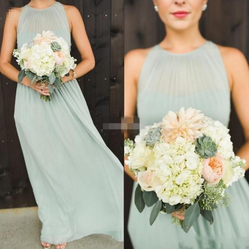 2018 Elegant Plus Size Sage Chiffon Long Bridesmaid Dresses Customed Boho Country Wedding Party Dress Maid of Honor Vestiods