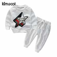 Kimocat Autumn Spring Baby Boy Clothes Long Sleeve Super Star Print Boys Clothing Set 100% Cotton Hoodie+Elastic Band Pants S