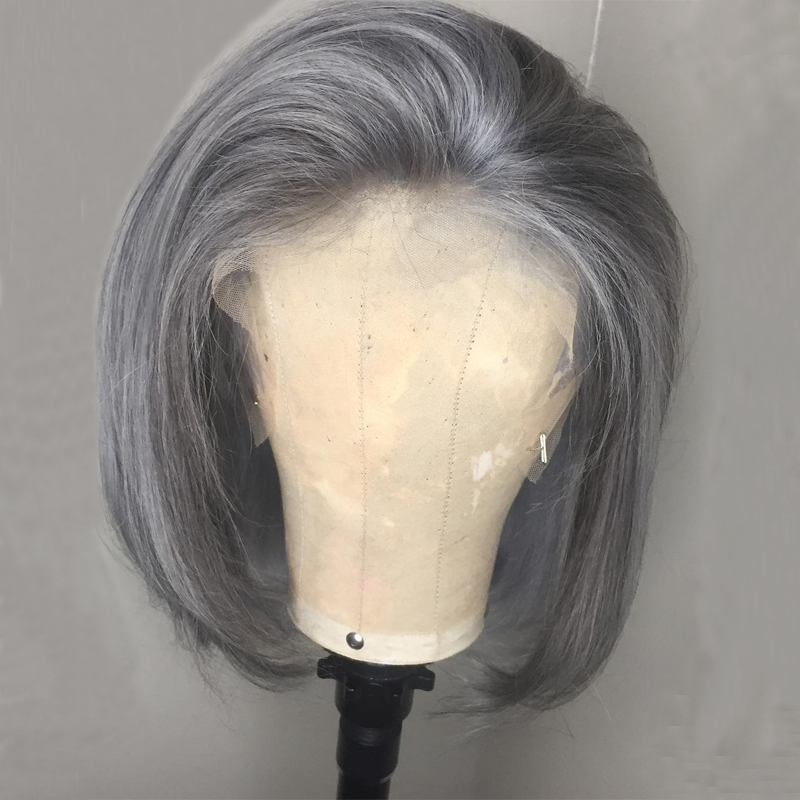 150 Density Grey Wig 13x4 Colored Human Hair Wigs Brazilian Straight Short Bob Lace Front Wig