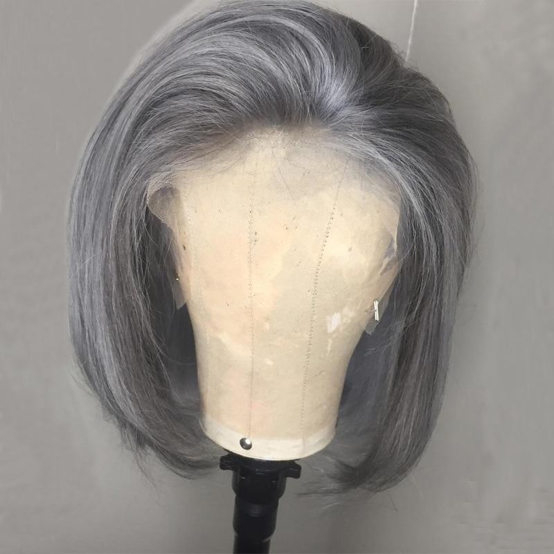 150 gęstość szary peruka 13x4 kolorowe ludzkich włosów peruki brazylijski prosto krótki Bob koronki przodu peruka dla kobiet czarny wstępnie oskubane Remy włosy w Peruki z tiulem z przodu od Przedłużanie włosów i peruki na AliExpress - 11.11_Double 11Singles' Day 1