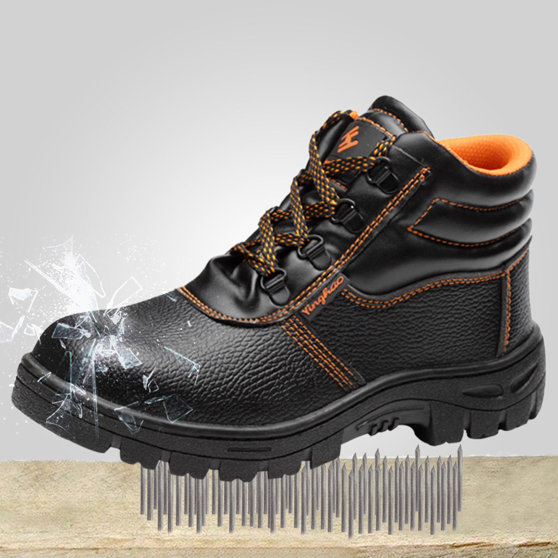 Men's Ankle Boots Steel Toe Safety Work Shoes Fashion PU Leather Rubber Sole Puncture proof Protective Working Boots Outdoor Safety Shoe Boots     -