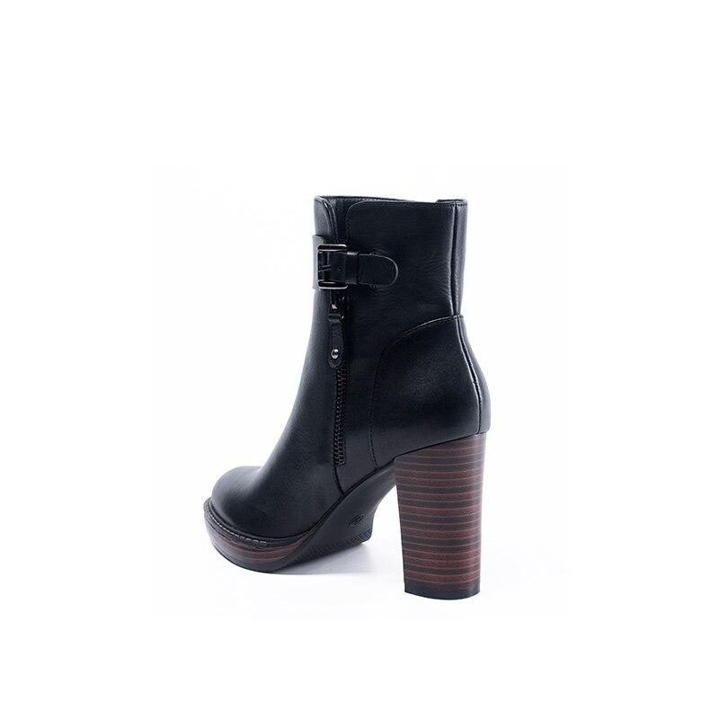 En 34 Haute À La D'hiver Noir Grande Bottes Main Taille 41 Bottines Talon Chaud Cuir Black Plush Zip Short Univers Femmes Vache Chaussures H188 dBeoCx