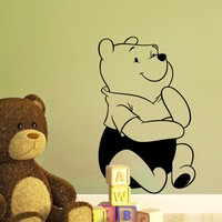 Removable Waterproof Cartoon Winnie the Pooh Babyroom Wall Sticker Beautiful Home Decoration TV Wall Background Wallpaper35*57CM