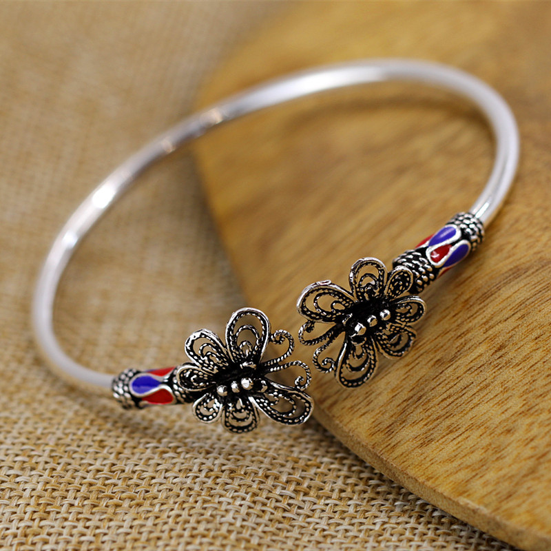 Character silver products, new listing, import butterfly exquisite S925 open Bracelet