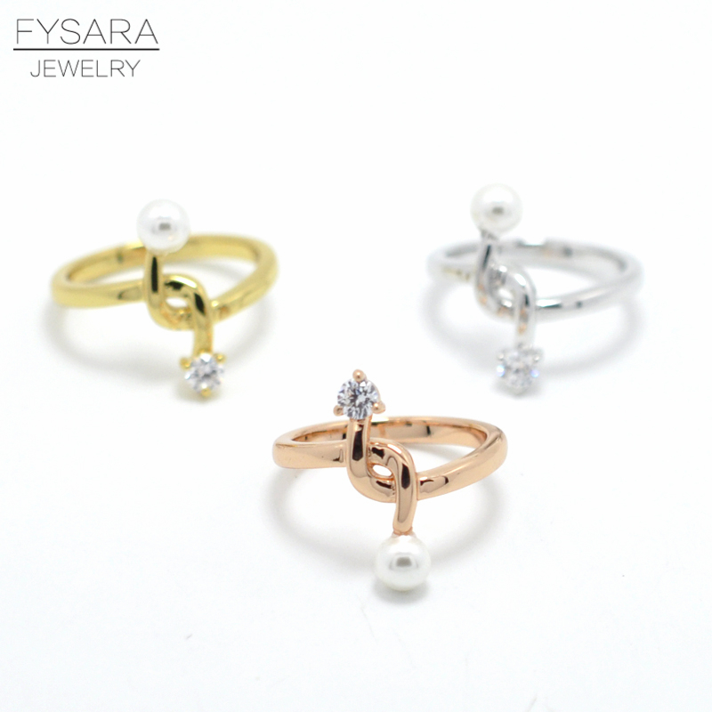 FYSARA Simulated Pearl Crystal Knot Rings For Women Jewelry Wedding Luxury Brand Love Ring Cross Intersect Finger Ring Midi Ring