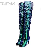 Hot 2017 New Arrived winter woman blue boots over the knee thigh high boots bling bling sexy high heels sequined cloths slip on