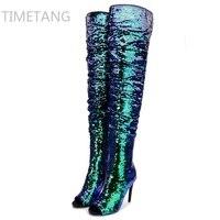 Hot 2017 Nowy Przyjeżdżający zima kobieta niebieskie buty za kolano udo wysoki but bling bling sexy wysokie obcasy sequined płótna poślizgu na