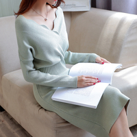 Women Elegant Dresses Long Sleeve For Autumn And Winter V Neck Knitted Sweater Dress Sheath Bodycon