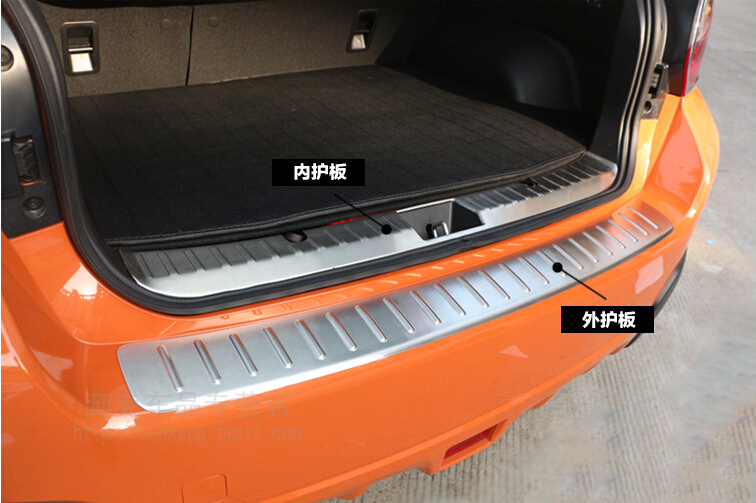 ФОТО New For Subaru XV Hatchback 2015 2014 2013 2012 outside+inside rear bumper protector step plate Cover 2pcs