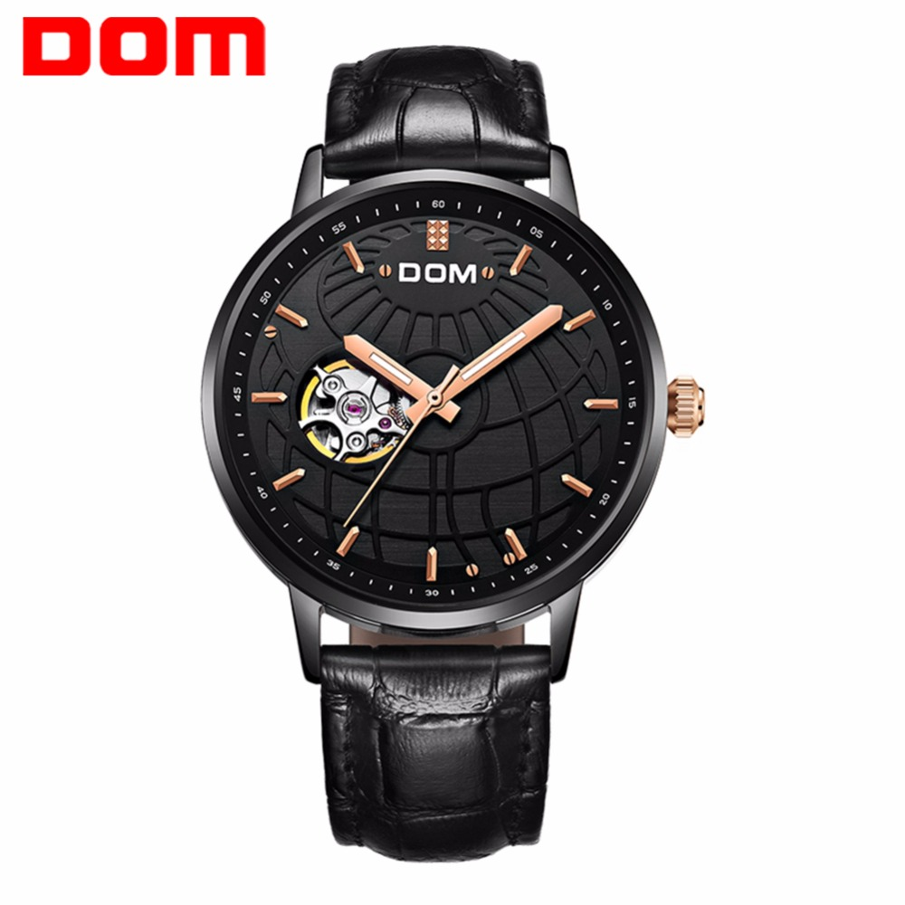DOM Luxury Brand Japan Mechanical Watch Self-Wind Black Leather Watch Vintage Elegant Waterproof Skeleton Watches Relogio M-8100