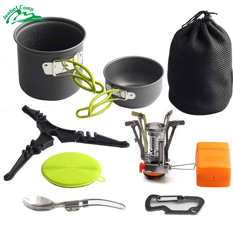 Dependable Jeebel Camping Cookware Set Ultralight Non-stick Cooking Kit Cooking Pot Outdoor Hiking Picnic Backpacking, Insulating Handled