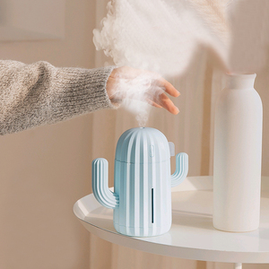 Image 2 - 340ML Cactus Air Humidifier Battery Operated Rechargeable USB Aroma Essential Oil Diffuser With Warm Light Cactus Air Purifier