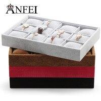1Pcs Black Velet 12Grid Professional Wrist Watch Display Box Jewelry Storage Holder Organizer Case Top Quality
