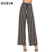 SheIn Loose Trousers Women Trousers Elegant Brand Womens Trousers Black Vertical Striped High Waist Wide Leg