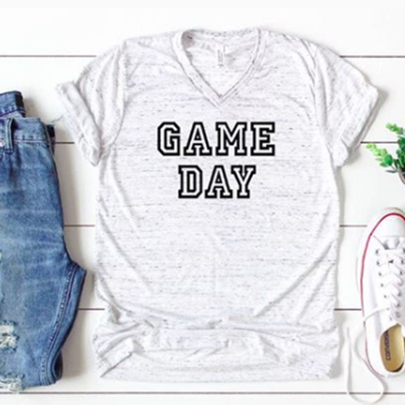 2019 game day tshirt blessed mama tee top womens fashion women 2019 day t shirts thankful female tops fashion shirt in T Shirts from Women 39 s Clothing