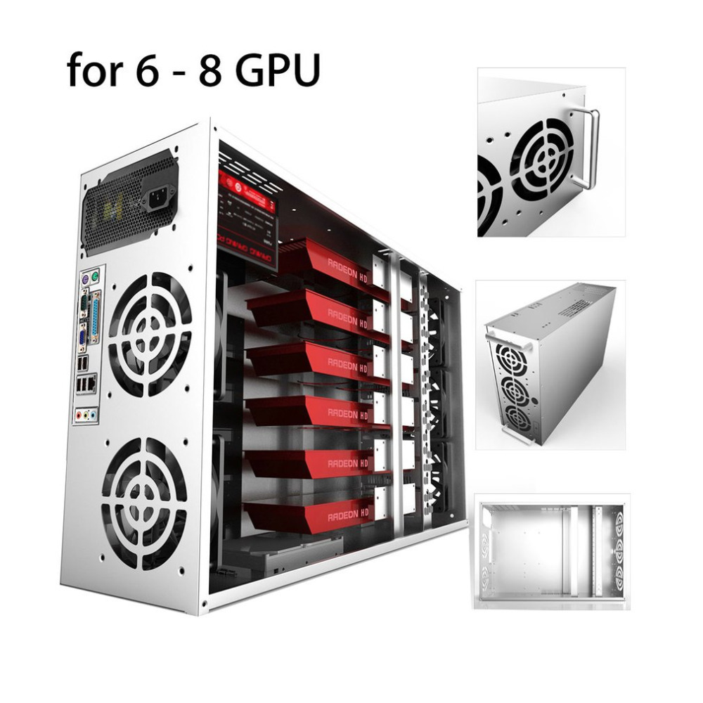 Open Air Mining Frame Rig Graphics Case GPU ATX Fit 6/8 Graphics Card Ethereum ETH ETC ZEC XMR Magnalium Alloy 12cm Fans