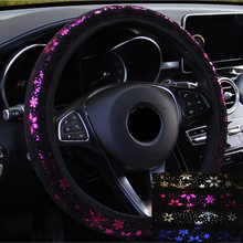 4 Colors New Special Custom Personalized Cute Car Steering Wheel Cover 38cm With Flowers Car Accessories For Girls Women