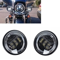 4.5 Inch Round LED Passing Fog Light With Red Demon Eyes/White DRL /Amber Turn Signal Halo for Harley Davidson Motorcycles