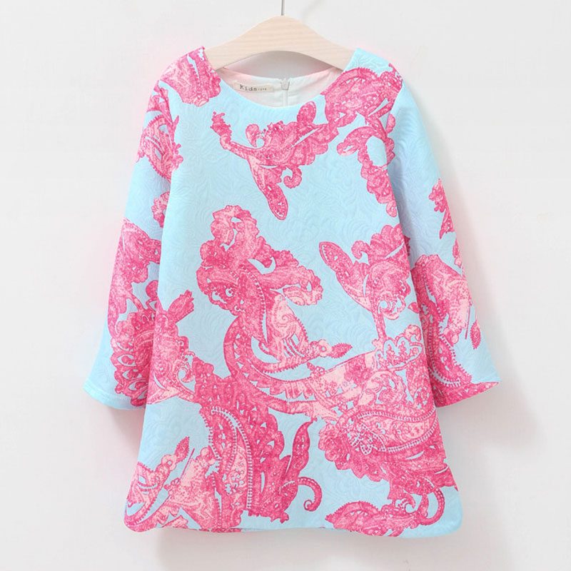 2016 Spring&autumn style costume for girls fashion European&American style girls straight Retro pattern kids long sleeve clothes