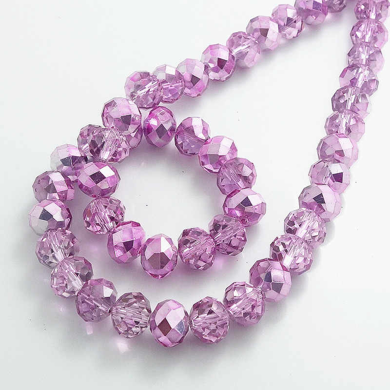 Wholesale Half Plated Rondelle Faceted Crystal Glass Loose Spacer Beads 4mm 6mm 8mm 10mm  pink