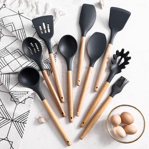 Escova de Madeira Lidar com Panelas Ferramentas de Cozimento da Cozinha Utensílio de Cozinha Concha Turner Silicone Colher Espátula Escova Gadgets 9 Pçs – Set
