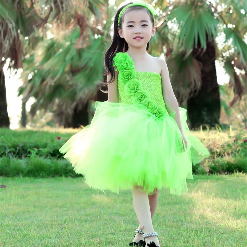 Vestito DAL TUTU DELLA PRINCIPESSA Della Ragazza di Fiore Verde di ... e41c7f522c8