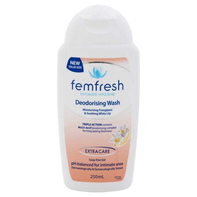 Women Health Femfresh gentle Intimate Wash Deodorising Triple Action protect against irritation, maintain a healthy pH-balance