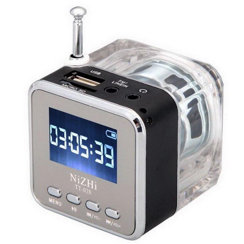 Nizhi TT-028 LED Mini Speaker Crystal Display Portalble TT028 Loud Subwoofer Music MP3 Player Support TF Card USB with FM Radio
