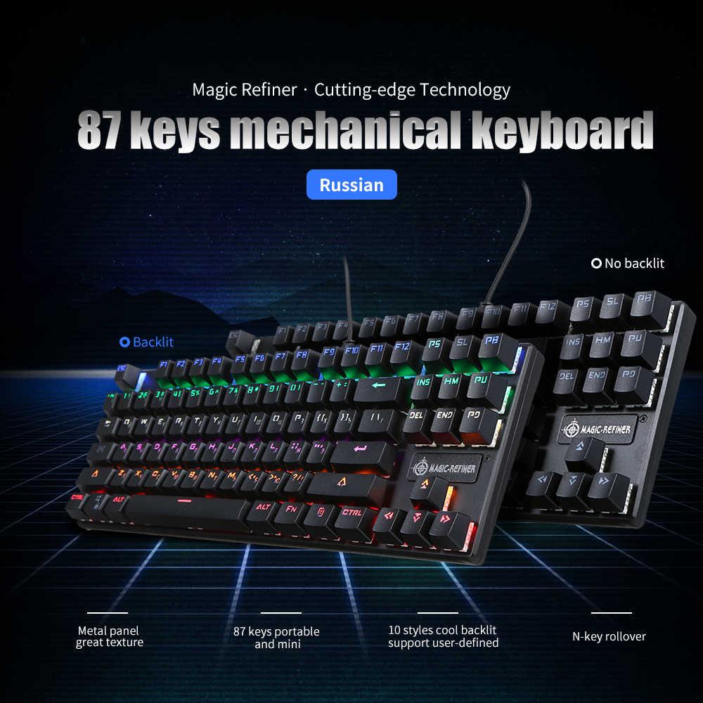 Gaming Keyboard Imitasi Mekanik Keyboard 87/108 Kunci Kabel USB Biru Switch Lampu Latar Bahasa Rusia Gamer Keyboard untuk Komputer