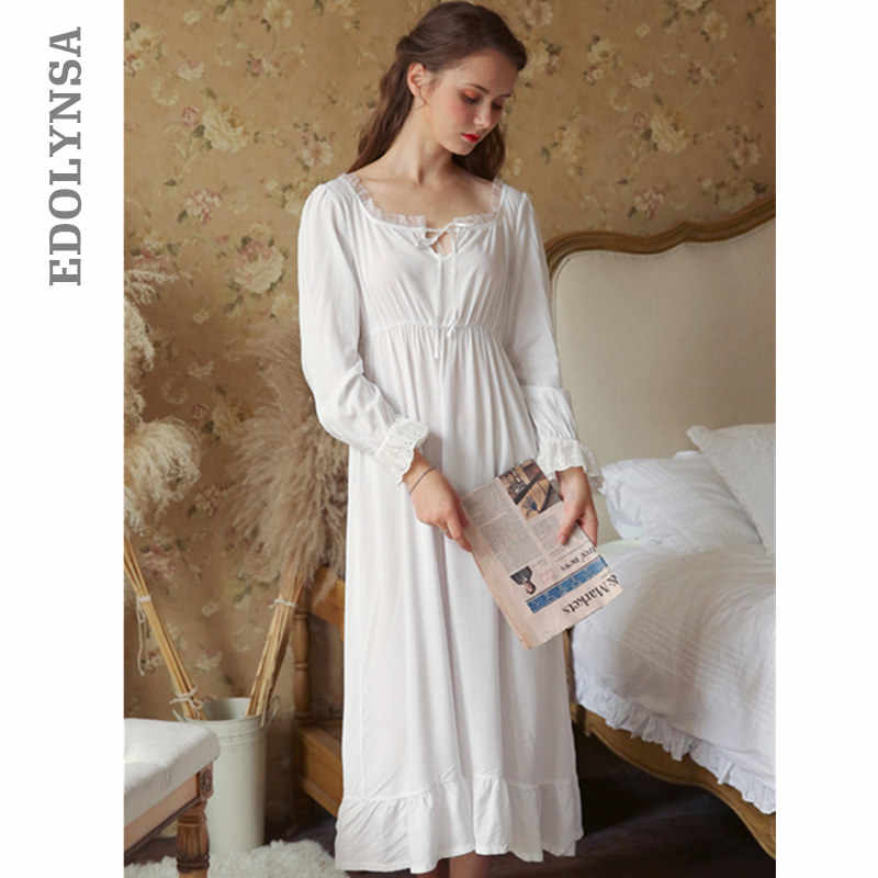 c42bbfcefbfd Sexy Slash Lace Up Sleep Wear Night Dress Vintage Nightgown Long Sleeve Nightdress  White Cotton Sleepwear