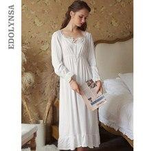 เซ็กซี่ Slash Lace Up Sleep สวมใส่ Night VINTAGE Nightgown แขนยาว Nightdress สีขาวผ้าฝ้ายชุดนอนชุดนอนสตรี T347