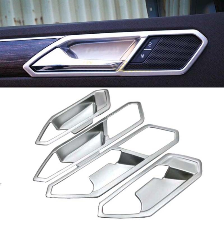 Car accessories Matte Interior Inner Door Handle Bowl Frame For VW Tiguan 2nd Gen 2016 2017