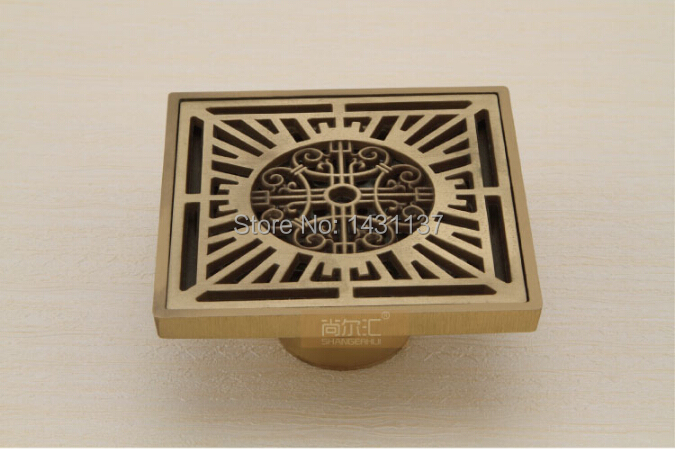 High quality Euro Style Antique Brass Art Carved Brass Floor Drain Cover Shower Waste Drain with against the stench design цена