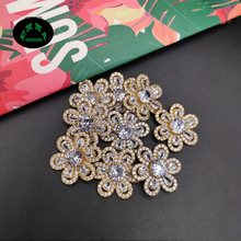 Lucky Flower Zircon Charms Pendant Sunflower Crystal Gold Color Brass Earrings Charm DIY Jewelry Making Findings 22.3 mm 10 pcs