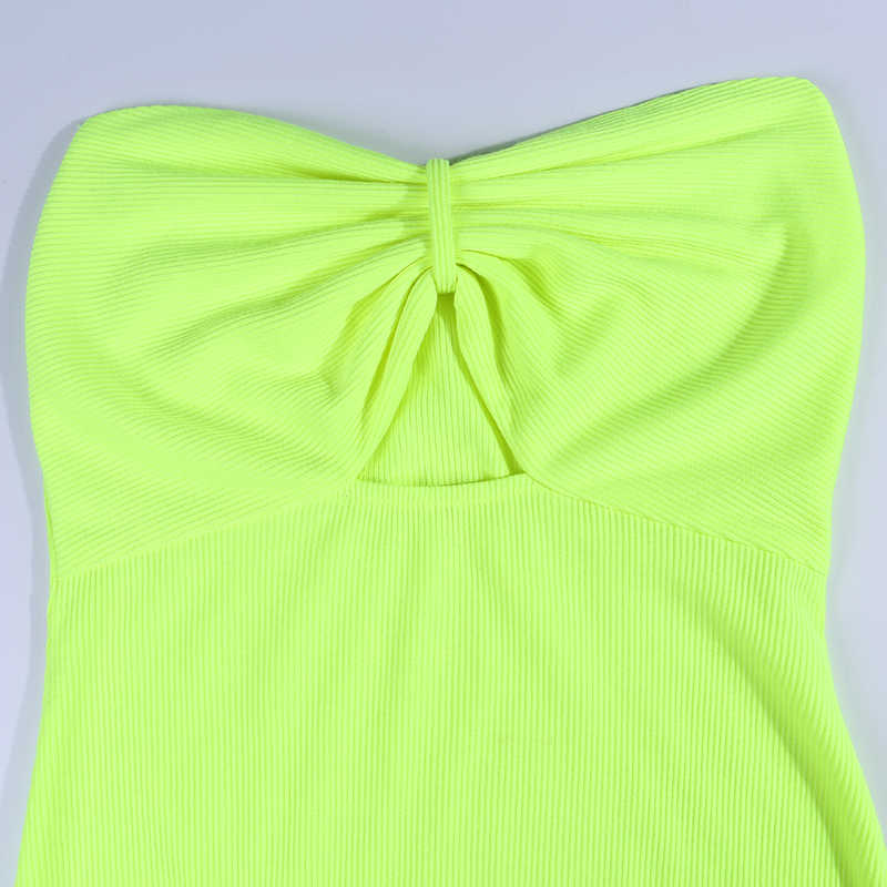 WannaThis aushöhlen rohr boob kleid liebsten schlank bodycon short mini party club sexy frauen sommer bogen neon grün kleider