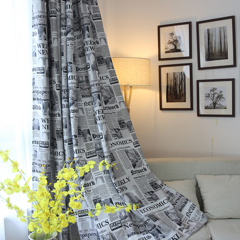 Fantastic Vintage Style Newspaper Print Blackout Curtains for Living Room  HX78