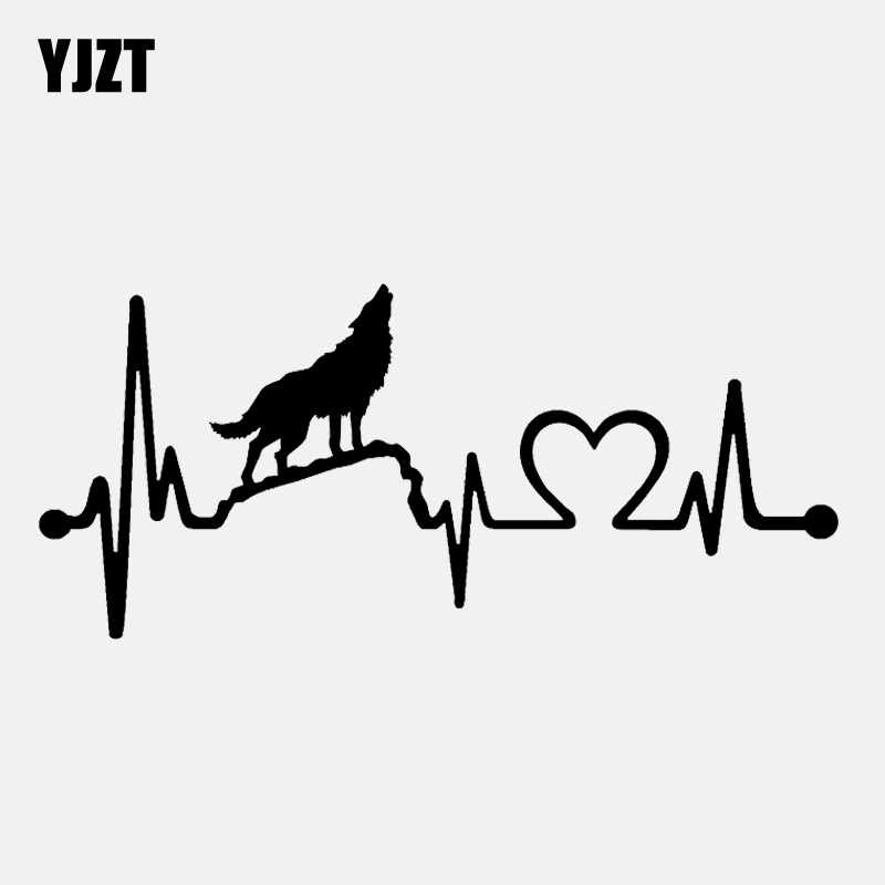YJZT 15.2CM*6.8CM Fun Howling Wolf Heartbeat Lifeline  Decal Vinyl Black/Silver Car Sticker C22-1035