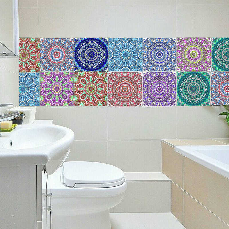 Mandala Style PVC Waterproof Bathroom Kitchen Room Tile Stickers  Wall Stickers Moistureproof Wall Paper 20x100cm