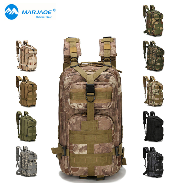 06ff2f19c8be Mens Large Capacity Military Backpack Waterproof Travel Backpack 3P Attack  Backpack Nylon Army Patrol Camouflage Rucksuck Bags-in Climbing Bags from  ...