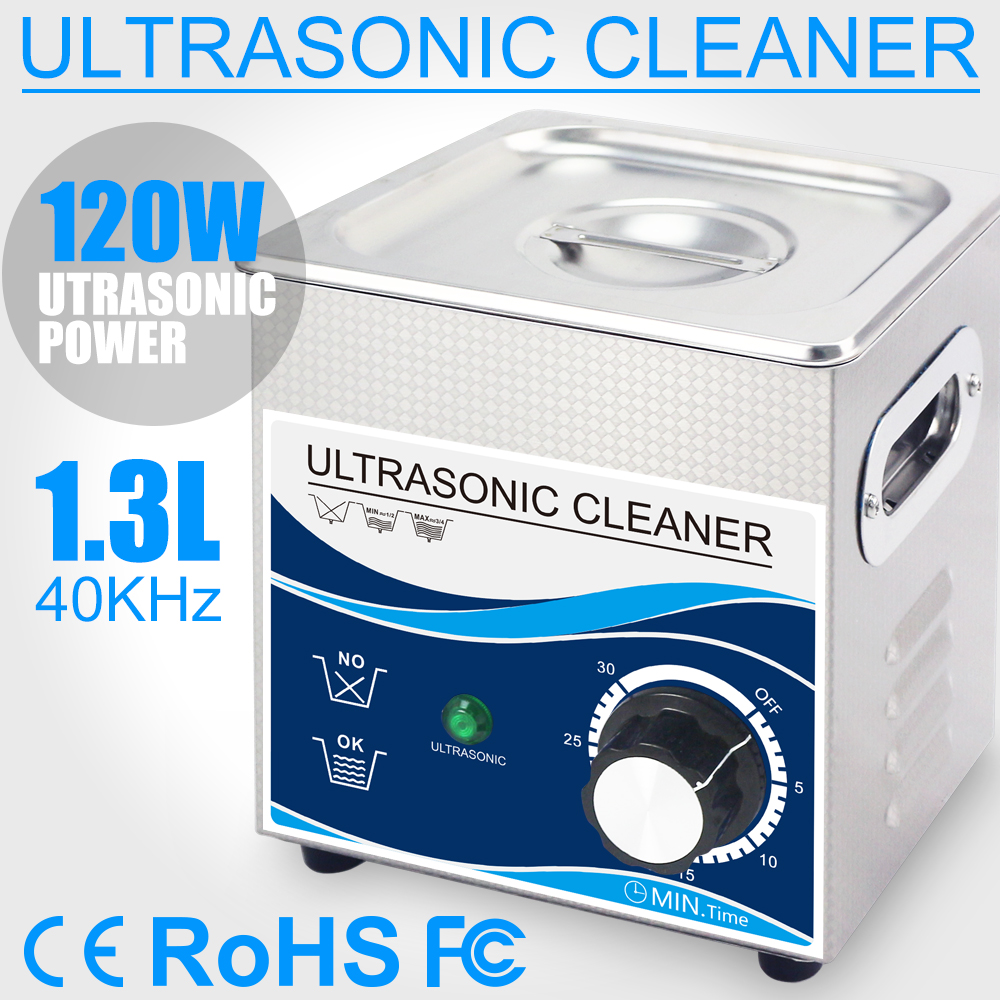 все цены на 1.3L Ultrasonic Cleaner Bath 120W Transducer 40khz Ultrasound Washer for Home Jewelry Earrings Necklace Eyeglasses Coins онлайн