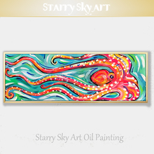 Artist Special Design Funny Ocean Animal Octopus Oil Painting on Canvas Big Long Size for Wall Decor