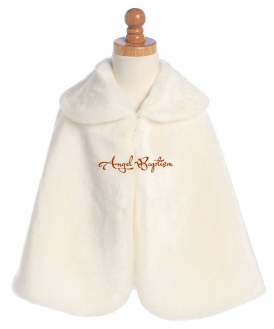 Fashion Winter ivory flower girl faux fur cape jacket wrap kid bolero for wedding outwear coat junior bridesmaid shawl long flower girl cape winter princess junior bridesmaid cape wedding cloak with fur trim with hand warmer for communion dress