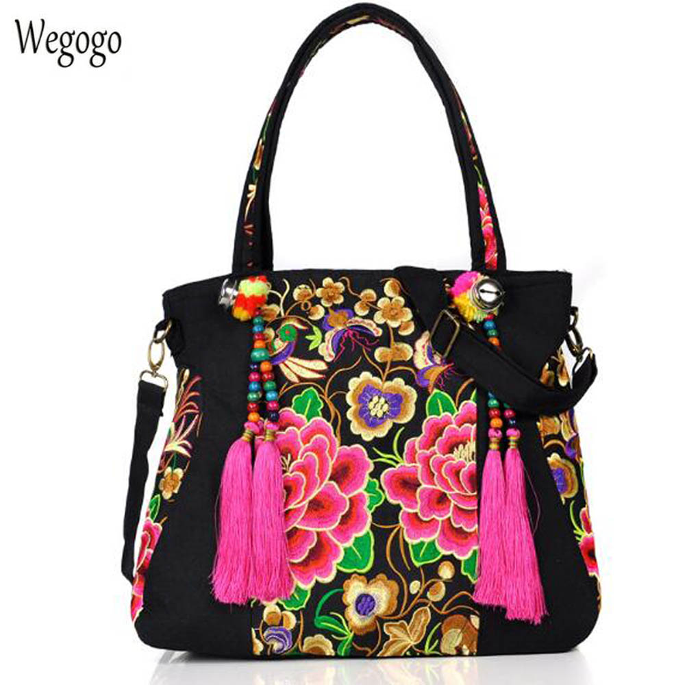 National Women Handbag Floral Embroidered Shoulder Totes Messenger Bag Women's Canvas Tassel Beach Travel Large Shopping Bag цена