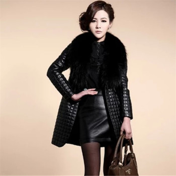 long Slim Ladies Black PU Fur Leather #Jacket Autumn Winter Office Ladies Artificial Fox #Fur #Coat #fashion #fauxfur #boygrl