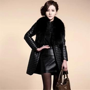 long Slim Ladies Black PU Fur Leather #Jacket Autumn Winter Office Ladies Artificial Fox #Fur #Coat #fashion #fauxfur #boygrl